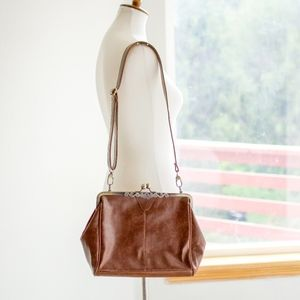 Vintage Leather Cross-Body Clutch Adj Strap EUC